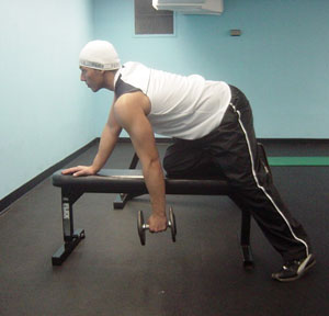 Dumbbell Bent-Over Rows Exercise 1